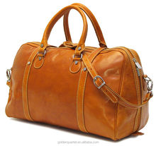 Luxury Brown leather travel duffle bag vintage leather weekender mens duffel bag