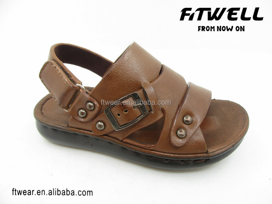 brown pu upper summer beach sandals kids