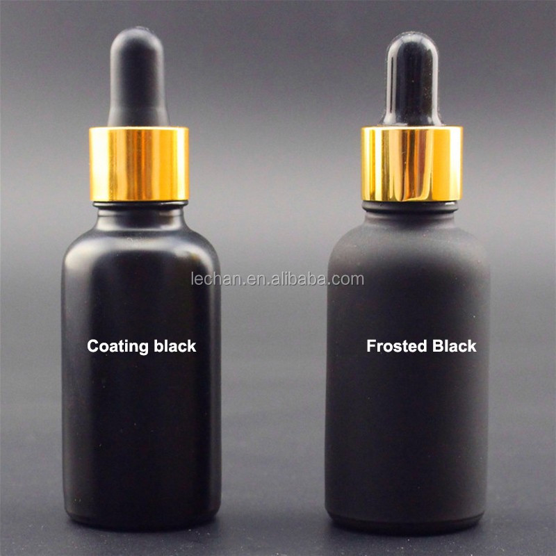 printing on glass bottle matte black white frosted glass dropper bottle with childproof tamper evident cap glass