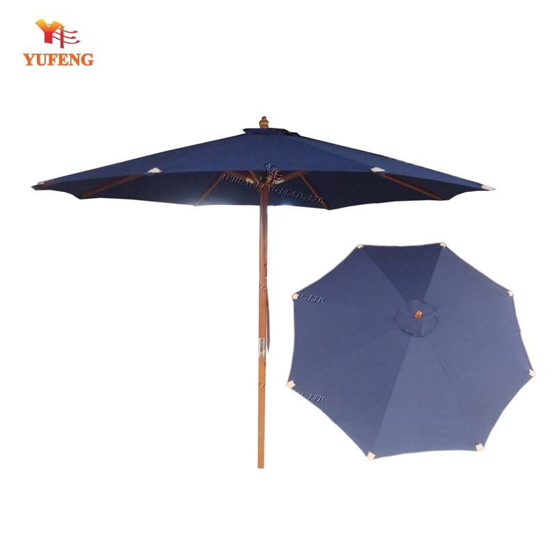 Deluxe wooden parasol with leather pocket and copper sheet