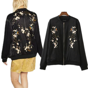 2017 hot selling Embroidery flower wholesale woman satin jacket bomber baseball jackets