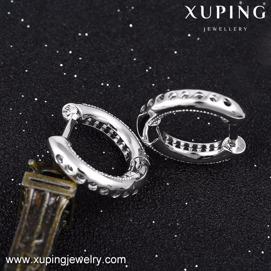 92445 xuping brinco diamond jewelry, white gold color rhodium plated clip platinum huggie hoop earrings