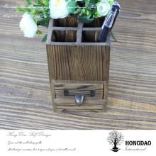 HONGDAO Specular gum flocking liner wood boxes for pen storage for Christmas