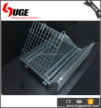 Folding Portable Metal Steel Wire Mesh Roll Container For Transport
