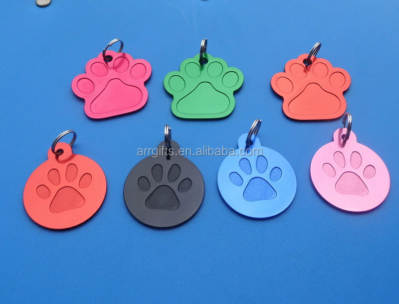 aluminum paw logo round dog tag oxidation pattern pet tag