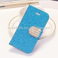 Flip Wallet Leather Case Crystal Diamond leather case for Samsung Galaxy S5 i9600