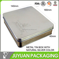 Blank tin box with embossed logo whole sale