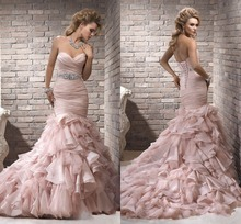 ZH1514G Blush Pink Ruffles Mermaid Wedding Dresses Sexy Sweetheart Lace-up Back Bridal Gown