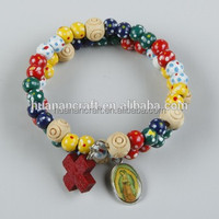 OEM colorful cross crafts religious wooden bead bracelet