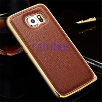 2015 Ultra Thin Luxury Aluminum Metal Frame Genuine Real Leather Back Cover Case for Samsung Galaxy S4 i9500