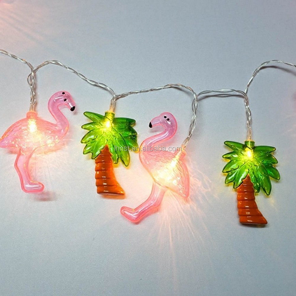 outdoor light string pink flamingo and coconut palm for holiday