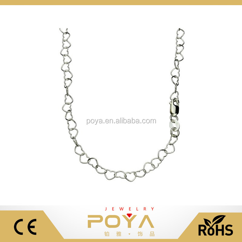 POYA Jewelry Heart Link 925 Sterling Silver Nickel Free Chain Necklace Italy Adjustable
