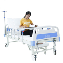 Low price metal patient care hospital bed with commode