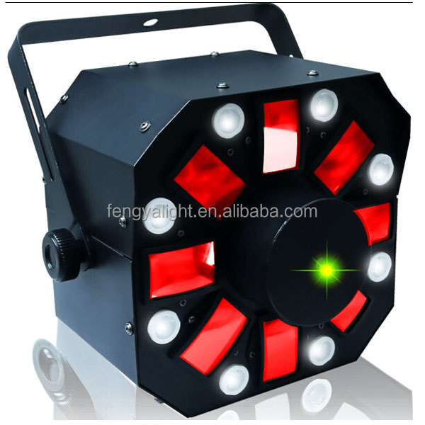 disco laser light + led flower star+strobe stage light
