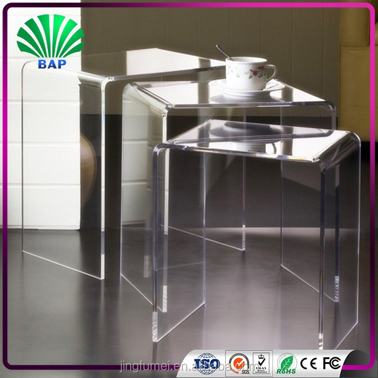 clear plastic U shape acrylic bedside dressing table wholesale