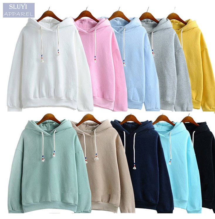 oversized hoodie manufacturers cheap fashionable pure color plain women long sleeve sweatshirt wholseale custom xxxxl hoodies