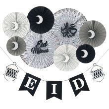 UMISS 2018 New Design EID MUBARAK Ramadan Decorations, Silver Black White Paper Fans, Banner