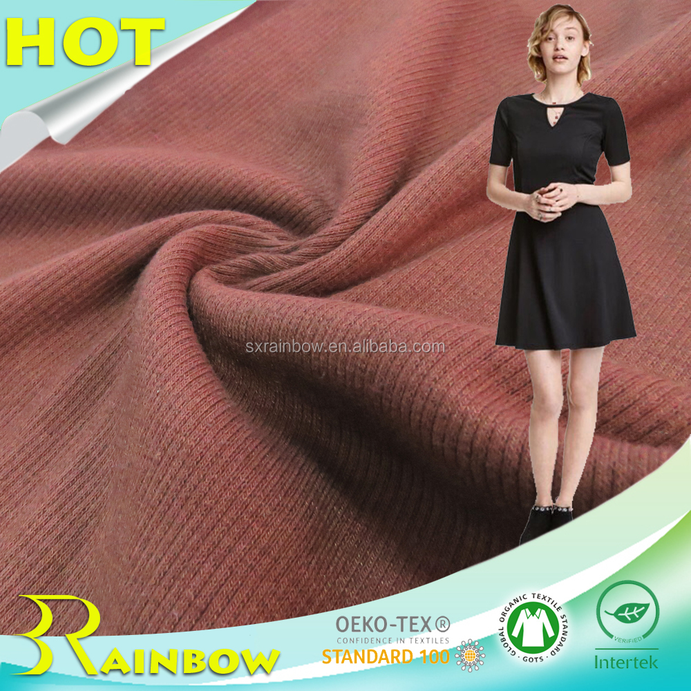 TC 34% Cottom 1% Spandex 65% Polyester Rib Fabric for Lady Dress