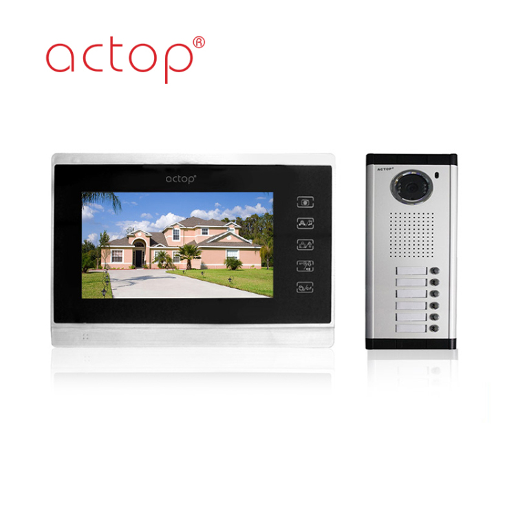 China factory ACTOP wired video door bell for 6 apartments intercom system