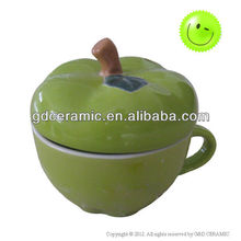 Green Apple Shaped Ceramic Cup With Lid