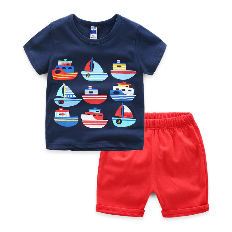 Foreign Trade Wholesale Children Garments Cute Baby Boys Casual Wear Boat T-Shirts Red Shorts Sets Trendy Kids Clothing Sets