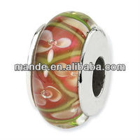 Wholesale new DIY glass beads with double silver plate cores as a wonderful DIY jewelry gift