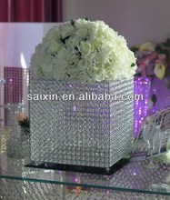 ZT-198 beautiful square crystal flower holders for wedding decor