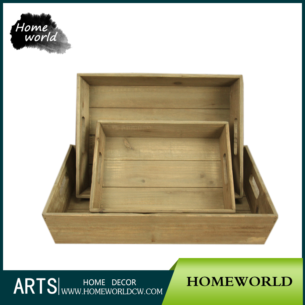 Wholesale High Quality Antique Rectangular Kitchen Storage Wood Plates in 3 Size