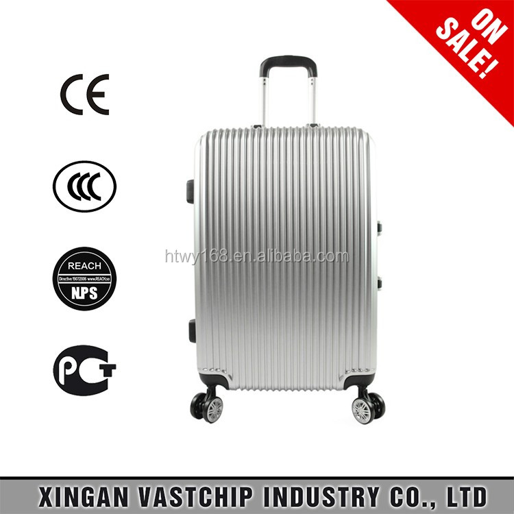 Top Selling ABS trolley luggage with top lock on wheel travel suitcase/bags with stop lock