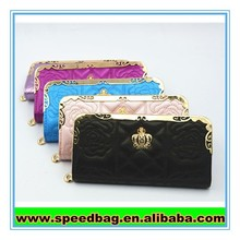 The Royal style black long money clip leather purse ladies purse