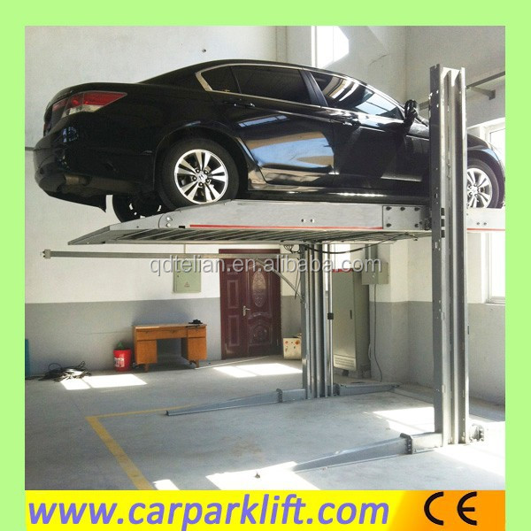 Two post double level hydraulic parking lift system for parking lot