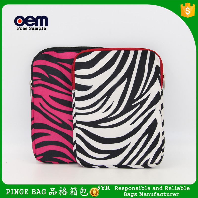 China Supply Zebra Polyester & Mesh Makeup Beauty Cosmetic Bag Toiletry Organizer Bag Tablet Bag