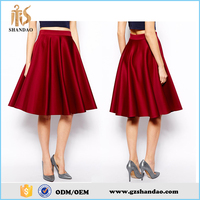 2016 guangzhou shandao plain dyed satin fashion summer women pictures of waist pleated a-line skirt