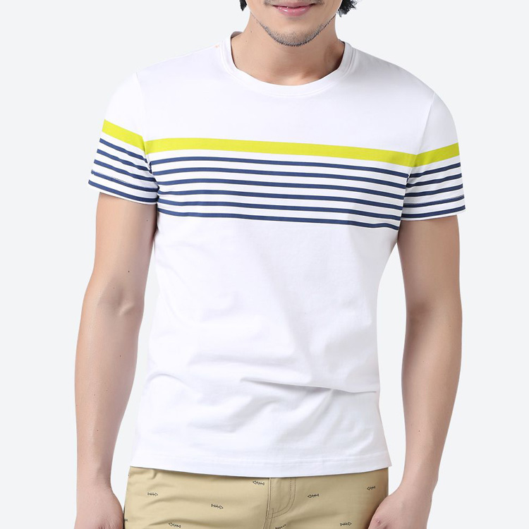 Clothing Manufacturing Companies New Model Men's T-Shirt Wholesale Blank Stripes Cotton Spandex Loose Fit Men's T Shirts