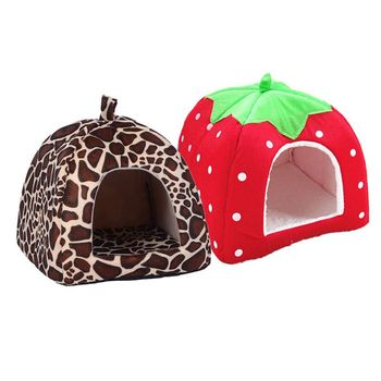 New Dog House Foldable Soft Warm Leopard Print Strawberry Cave Bed Pet Cute Kennel Nest Fleece Cat Tent