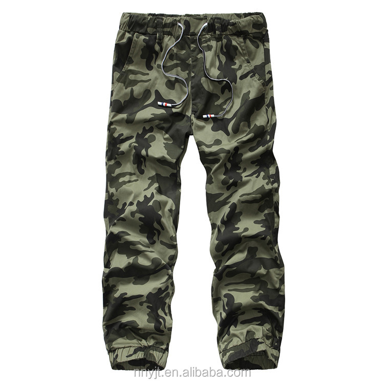 2017 Army Cargo Pants Man Trousers with Tape Binders at Bottom Wholesale