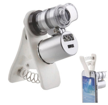 60X Zoom LED Mini 60 times magnifying glass microscope Lens Universal Mobile currency detecting Microsc with clip