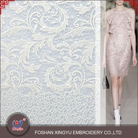 2016 A/W Ineternational brand white milky silk computer embroidery designs guipure dress lace fabric for fashionable woman cloth