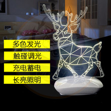 Acrylic LED Table Desk Lamp 7 Colorful 3D Optical Acrylic Night Light With ABS Base Manufacturer China