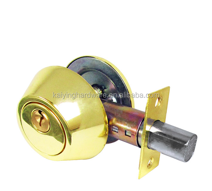 Single Cylinder & Double Cylinder deadbolt door lock with brushed polished brass color for entry door