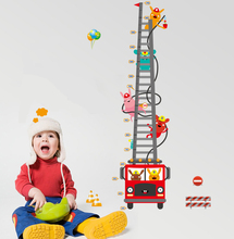 Cartoon fire truck Height Increases Measurement Sticker Removable Diy Vinyl Quote Wall Sticker Poster Home decoration