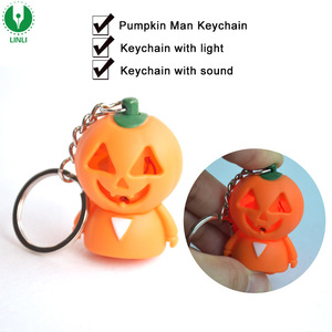 Led Cartoon Pumpkin Sound Keychain, Pumpkin Flashlight Keychain, Halloween Keyring