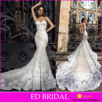 New Fashion Spaghetti Straps Lace Pattern Wedding Dress 2016 Mermaid In China