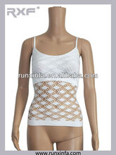 Ladies sexy seamless vest top and genie bra with sexy control abdomen net