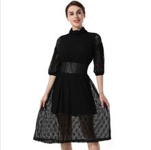 Hot Black Grenadine Lace Patterns Sexy Ladies Sexy Transparent Dress