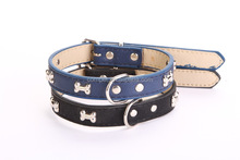 Pet supplies wholesale bone charms pu leather dog collars