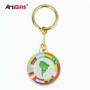 Wholesale Metal Custom Souvenir Soft Enamel Country Flag Keychain
