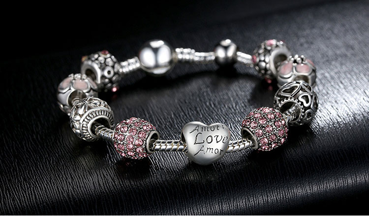Wedding Valentine's Day Gift Antique Silver Charm Crystal Bracelet with Love and Flower