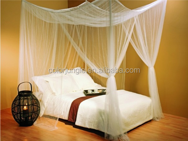 Rectangular mosquito net bed canopy for single double for Rectangle bed canopy