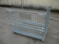 Powder coated industry foldable metal wire mesh storage bin with high quality